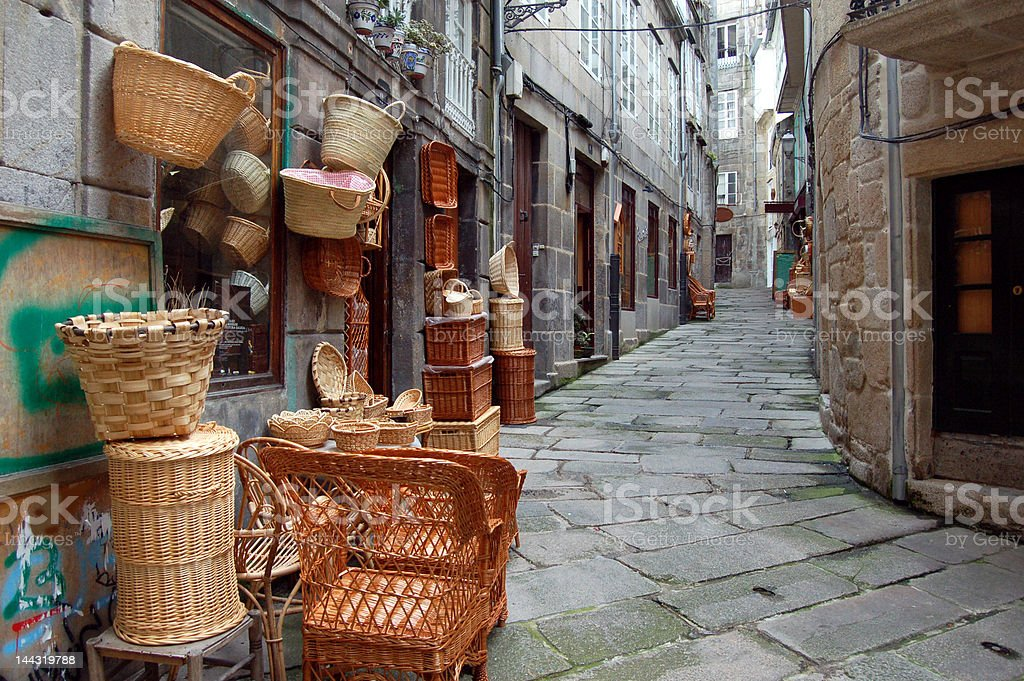 Old basket street stock photo