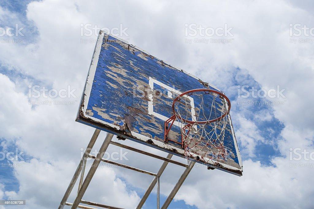 Old Basketball Hoop on Blue Sky stock photo