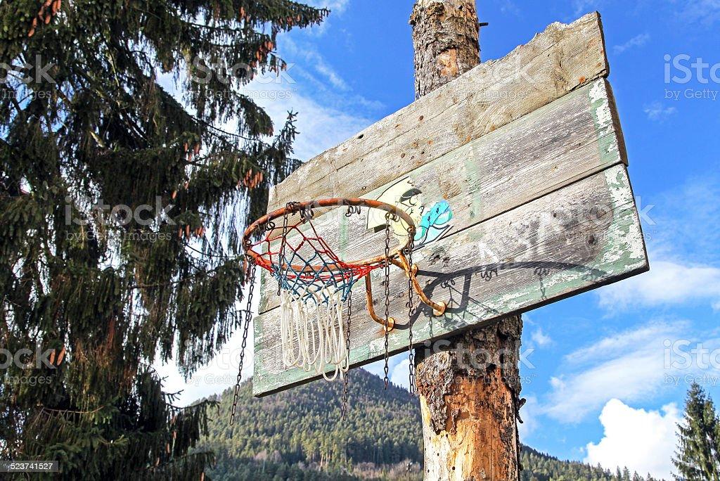 Old basketball hoop stock photo