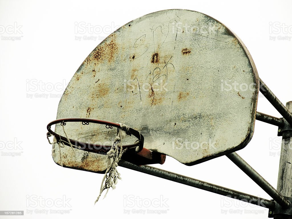 Old Basketball Hoop With Torn Net royalty-free stock photo