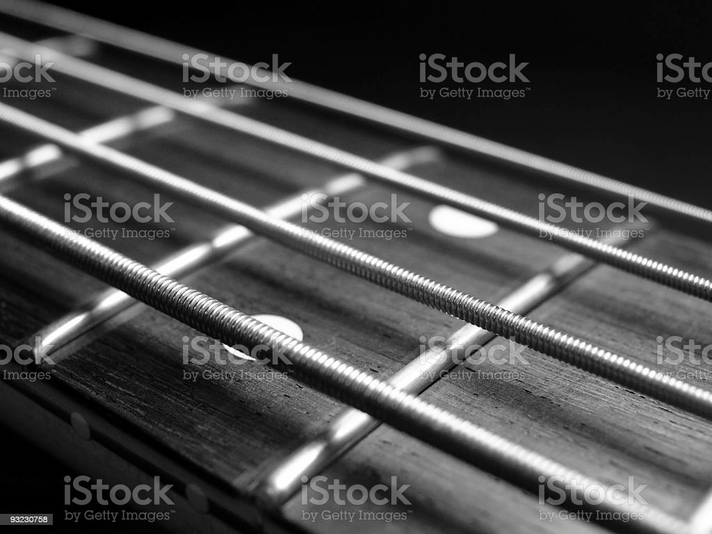 Old Bass Guitar Strings stock photo