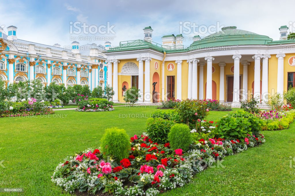 Сold Bath with famous Agate Rooms in Catherine park, Tsarskoye Selo near St. Petersburg stock photo