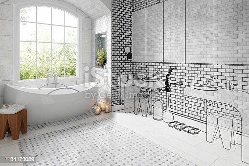 Old bathroom after renovation (vision) - 3d illustration