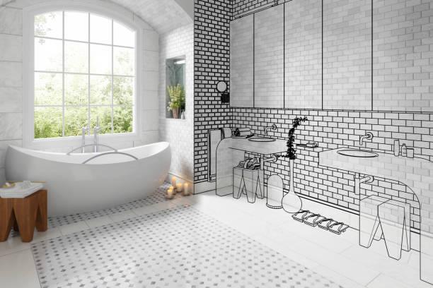 altes bad nach der renovierung (vision)-3d illustration - badezimmer fotos stock-fotos und bilder
