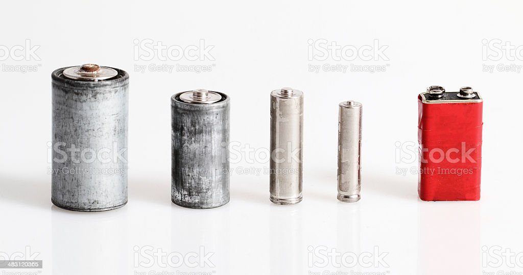 Old batteries stock photo