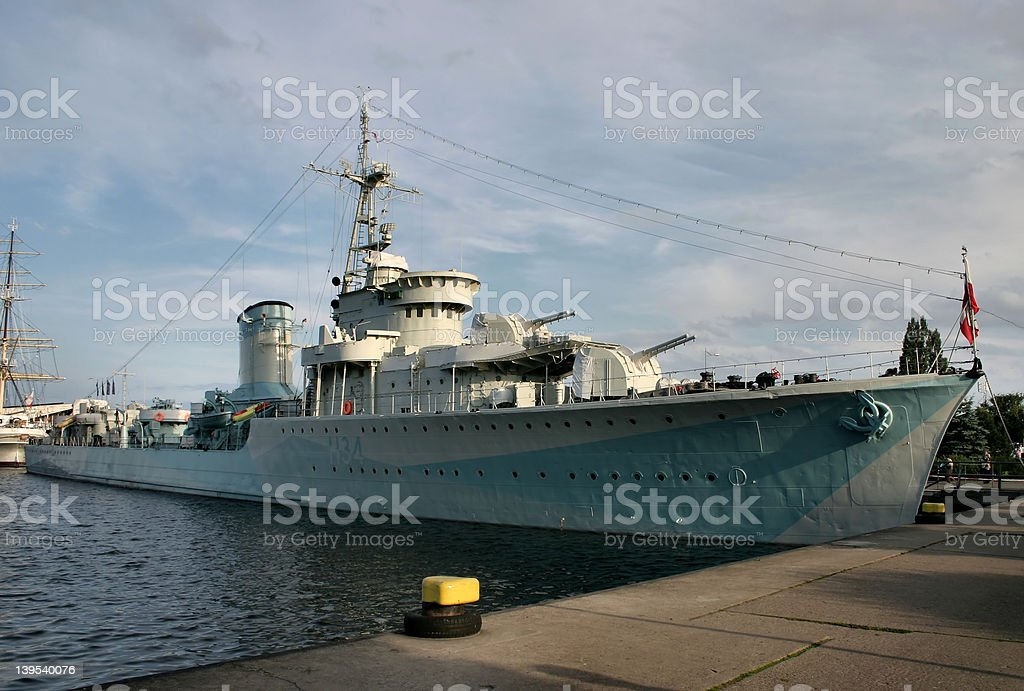 old battle ship royalty-free stock photo