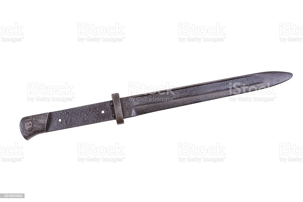 Old bayonet on a white background stock photo