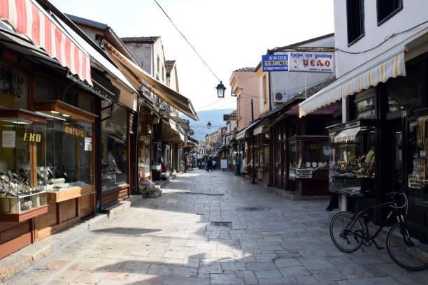 üsküp, makedonya için eski çarşısı (stara carsija) yanı. - üsküp stok fotoğraflar ve resimler