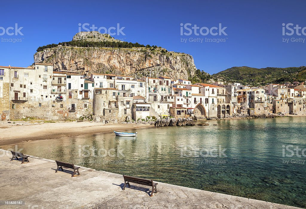 Old beach in Cefalù, Sicily Italy stock photo