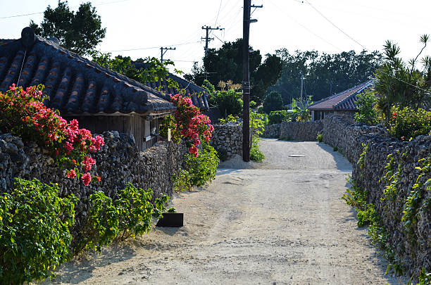 Old beautiful street in Japan stock photo