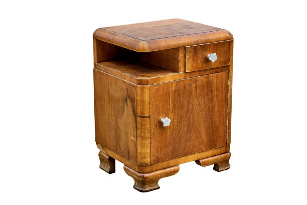 old bedside table in mid-century style isolated on white background. bedroom furniture - midcentury design stock photos and pictures