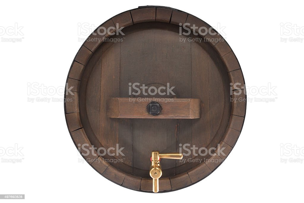 old beer barrel with spigot stock photo
