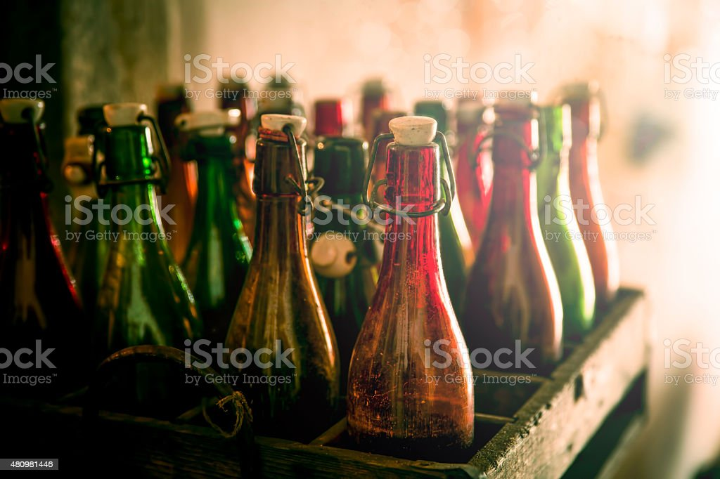 Old beer bottles in wooden cases - Royalty-free 2015 Stock Photo