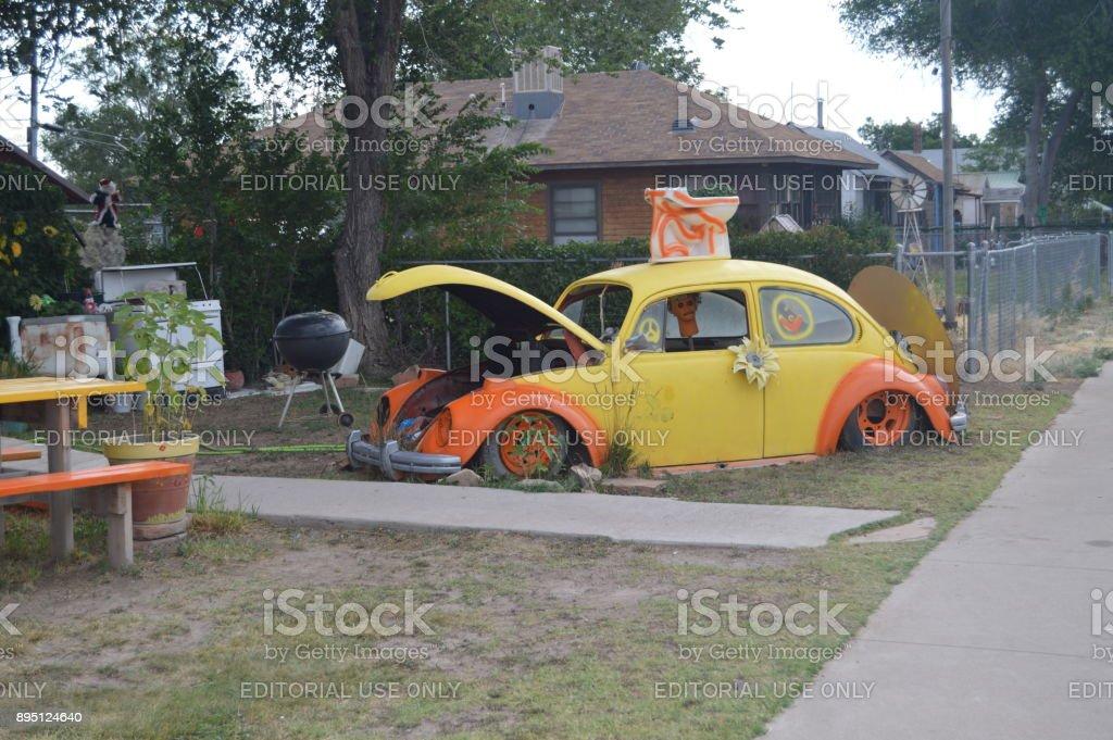 Escarabajo antiguo del amor en Seligman, 22 de junio de 2017. Ruta 66, Seligman. Los E.e.u.u. de Arizona, EEUU - foto de stock
