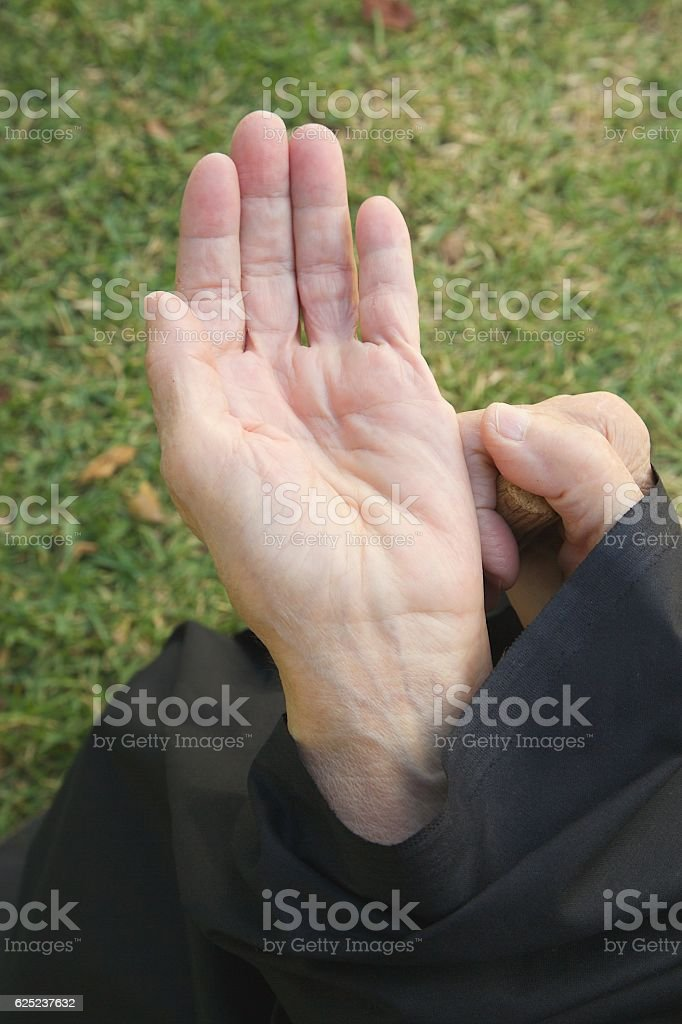 Old begging woman stock photo