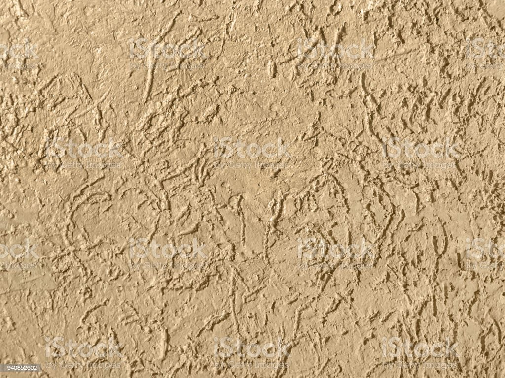 Old Beige Wall Covered With Uneven Plaster Stock Photo & More ...