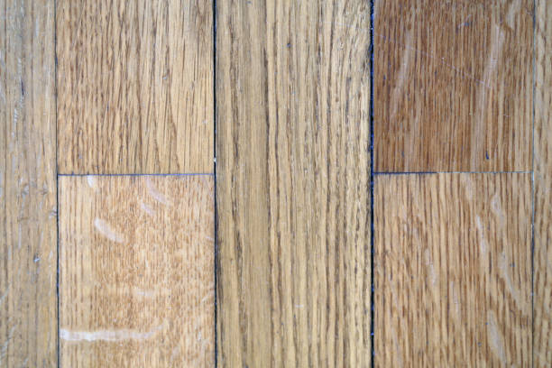 Old Beige Wooden Floor Photographed from Above stock photo