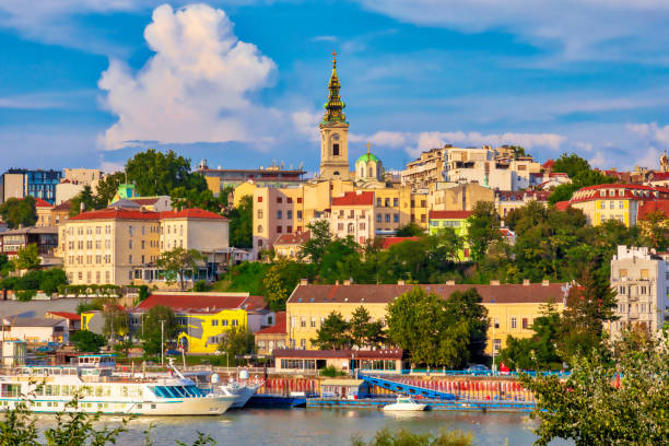 Old Belgrade City Center Belgrade, the capital of Serbia. View of the old historic city center on Sava river banks. Image belgrade serbia stock pictures, royalty-free photos & images