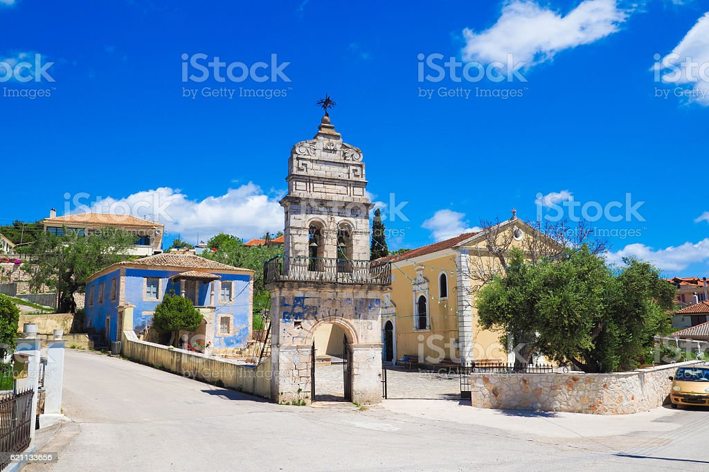 Old bell tower in traditional greek village on the island stock photo
