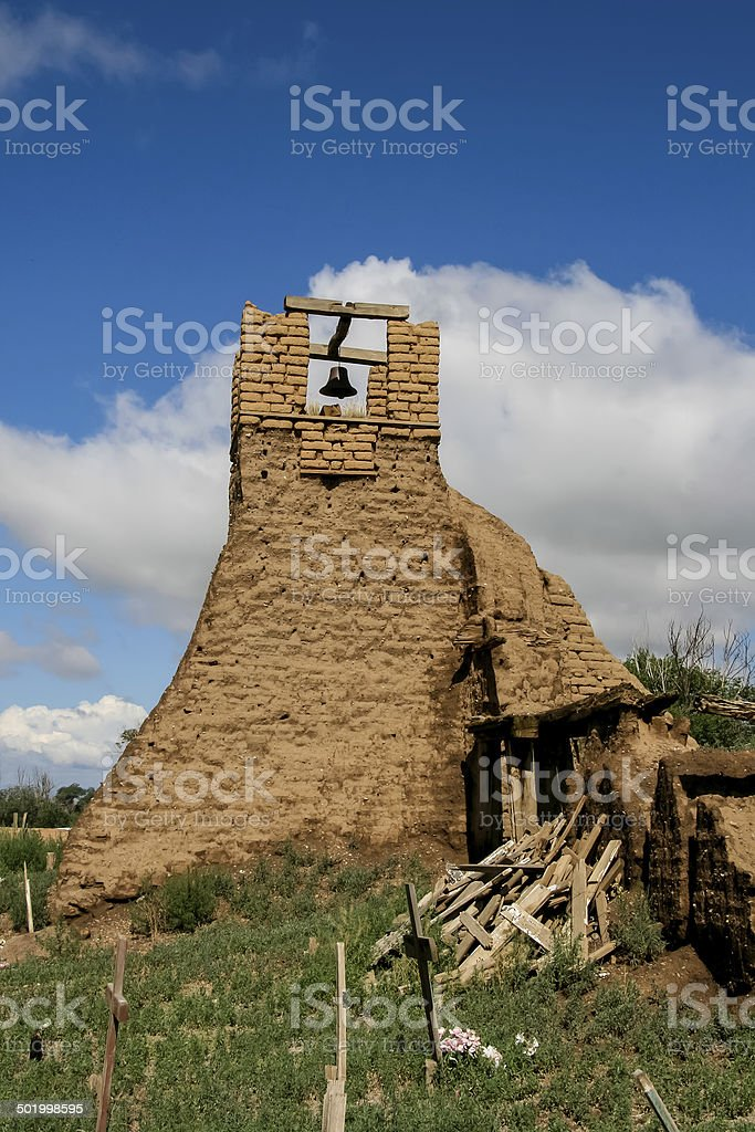 Old belltower from San Geronimo Chapel in Taos Pueblo, USA stock photo