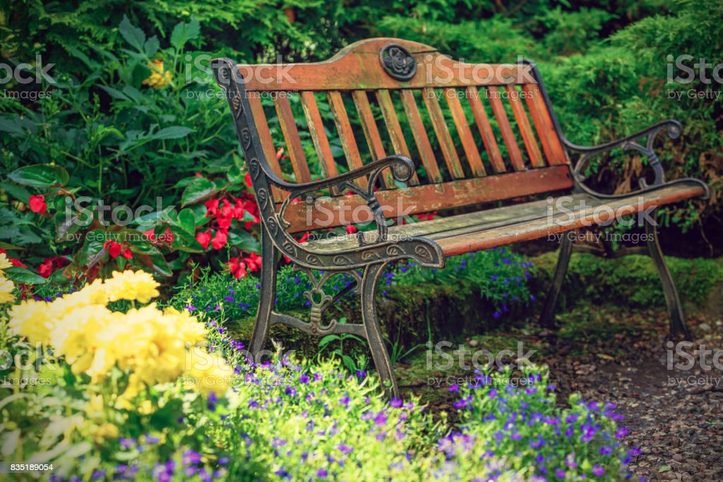 Astounding Old Bench In The Garden Stock Photo Download Image Now Cjindustries Chair Design For Home Cjindustriesco