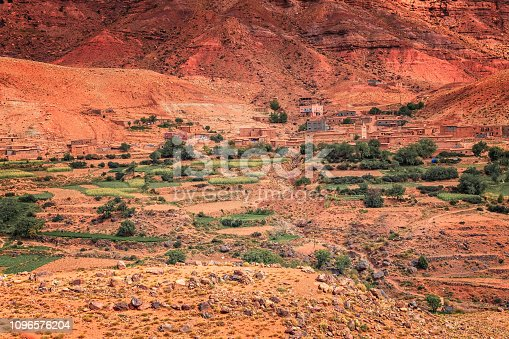 istock Old berber architecture in High Atlas Mountains region in Morocco. Houses of clay at the foot of the mountains. 1096576204