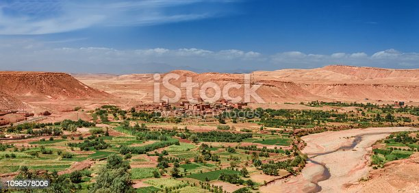 istock Old berber architecture in High Atlas Mountains region in Morocco. Houses of clay at the foot of the mountains. 1096578006