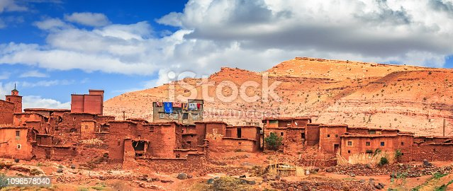 istock Old berber architecture in High Atlas Mountains region in Morocco. Houses of clay at the foot of the mountains. 1096578040