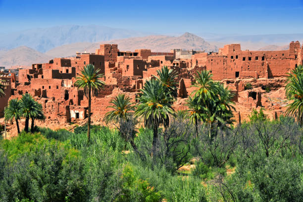 Old berber architecture near the city of Tinghir, Morocco stock photo