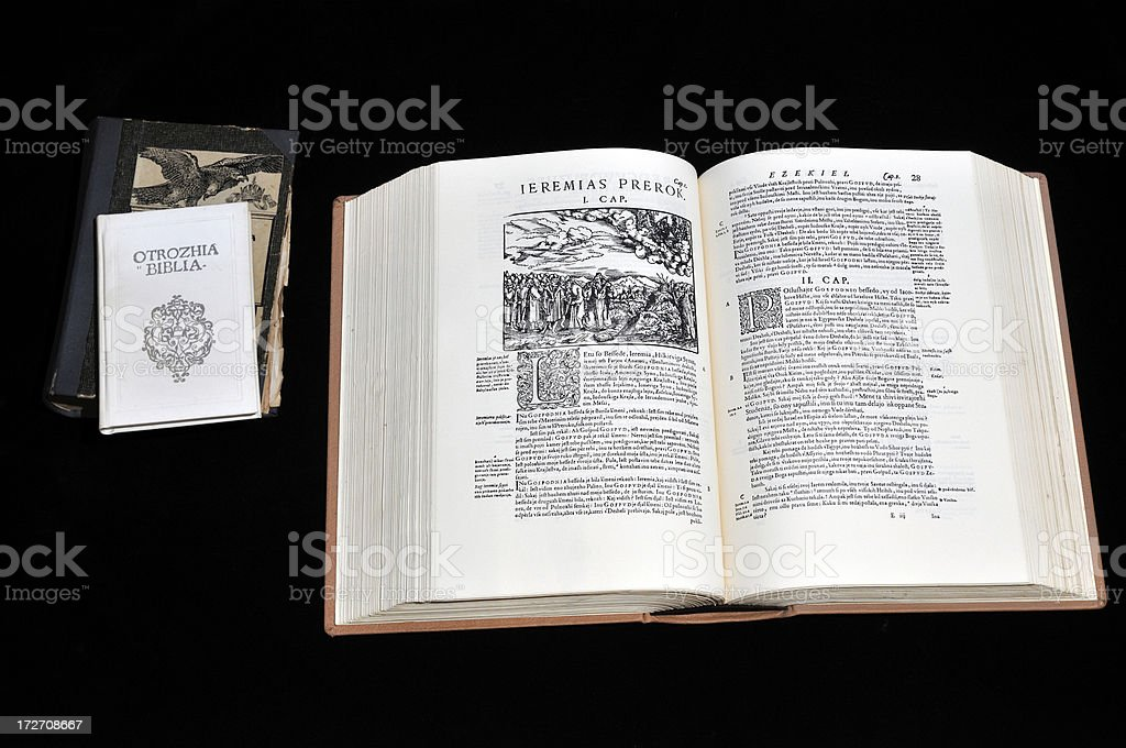 Old Bible book stock photo