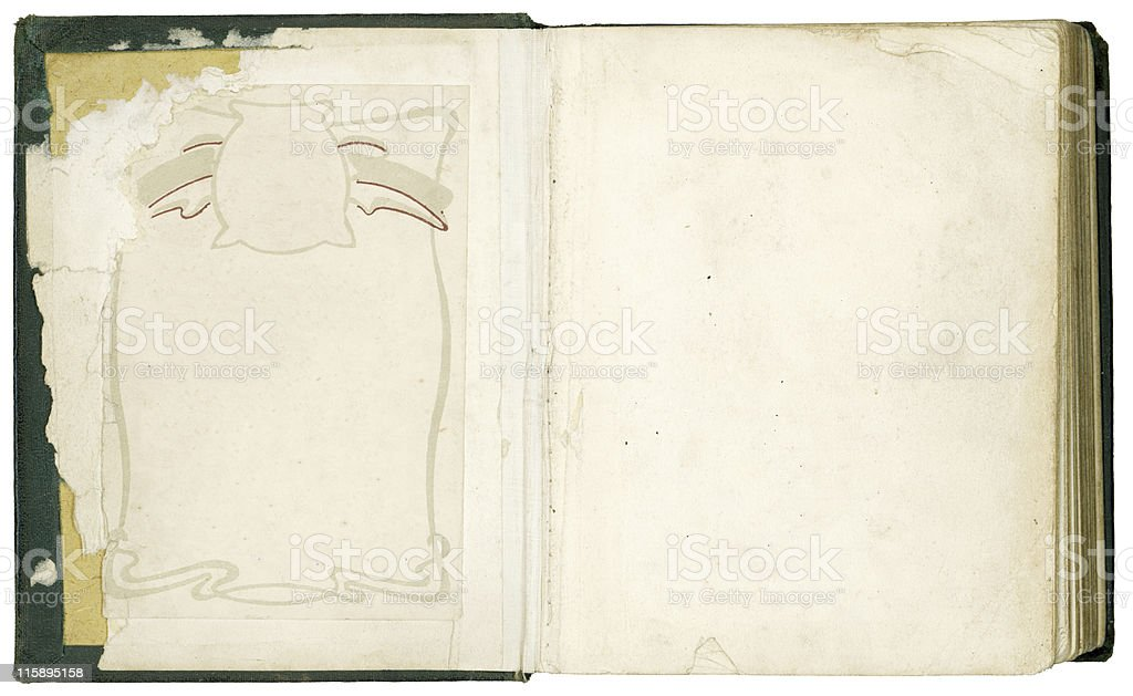 Old bible inside front pages royalty-free stock photo