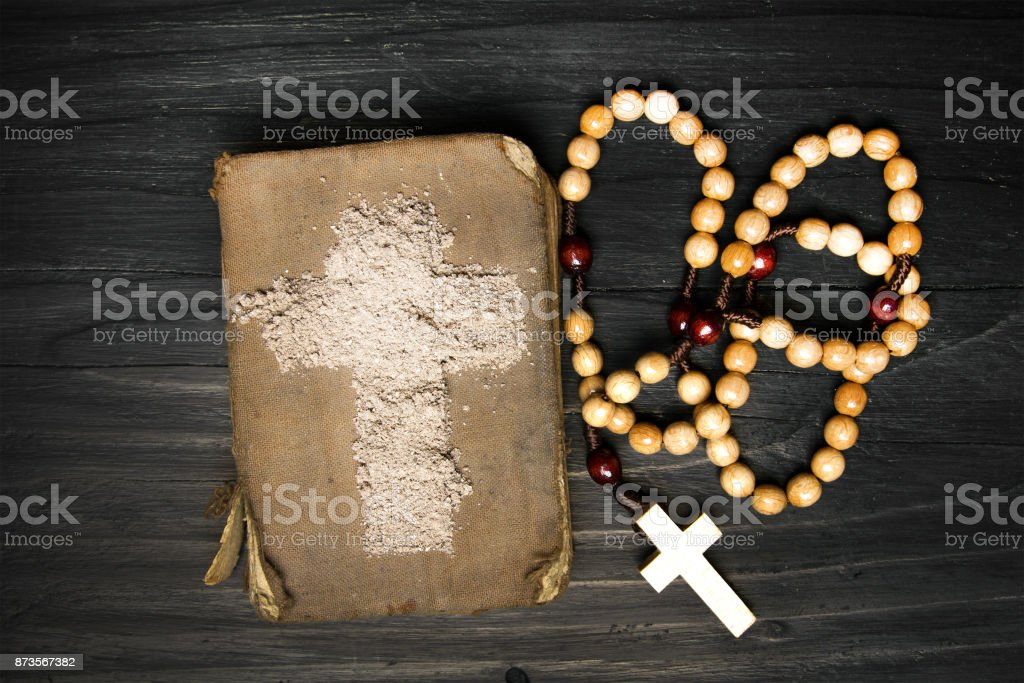 Old Bible Rosary And Cross Of Ash Symbols Of Ash Wednesday Stock