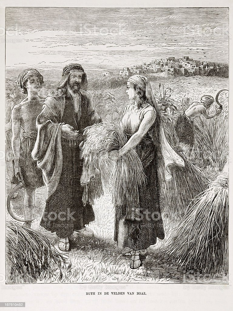 Old biblical engraving depicting Ruth in Boaz's Field (1873) stock photo