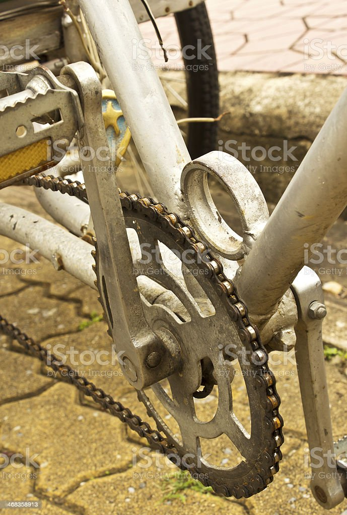 Old bicycle crank set pedal royalty-free stock photo