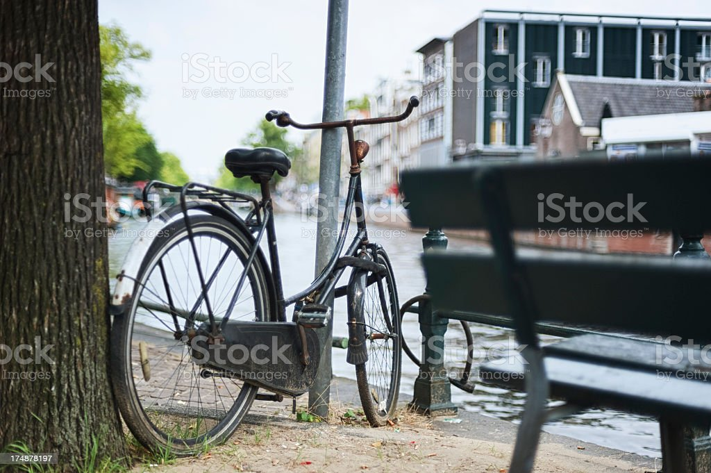 Old bicycle in Amsterdam royalty-free stock photo