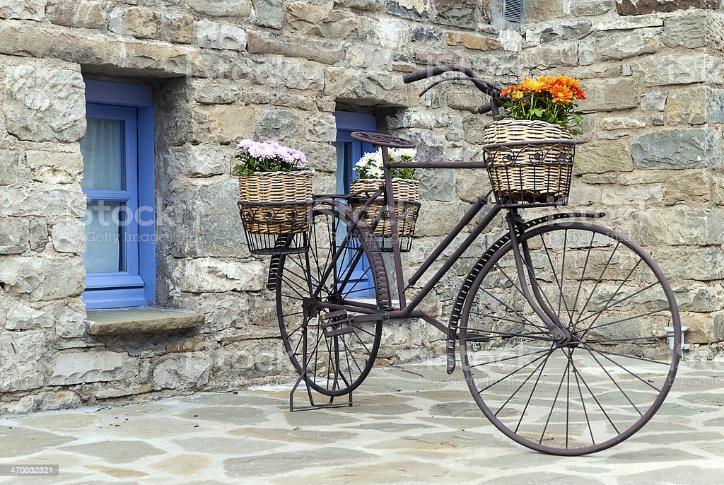 Old bicycle in Greece stock photo
