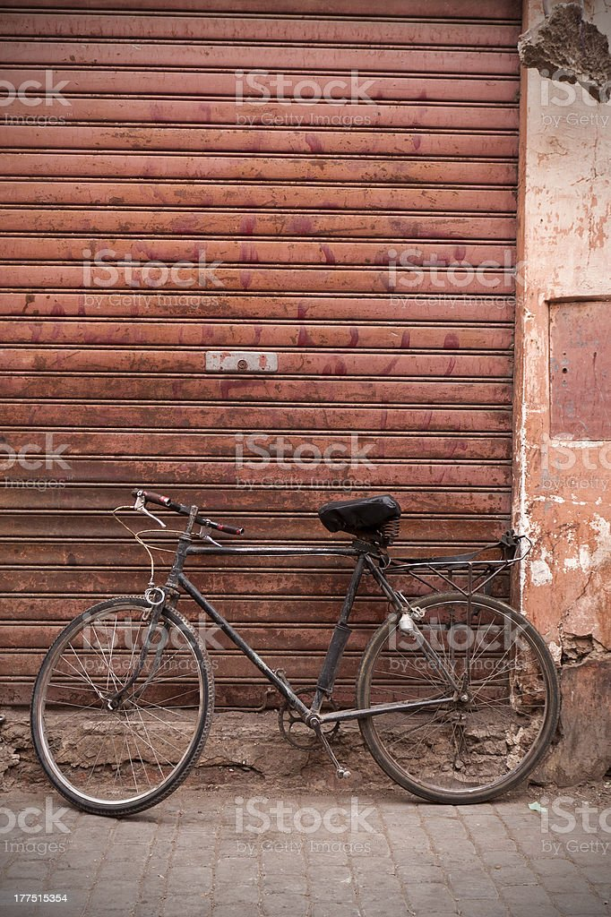 Old bicycle in the Souk. stock photo