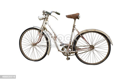 istock Old bicycle isolated on white 466835516