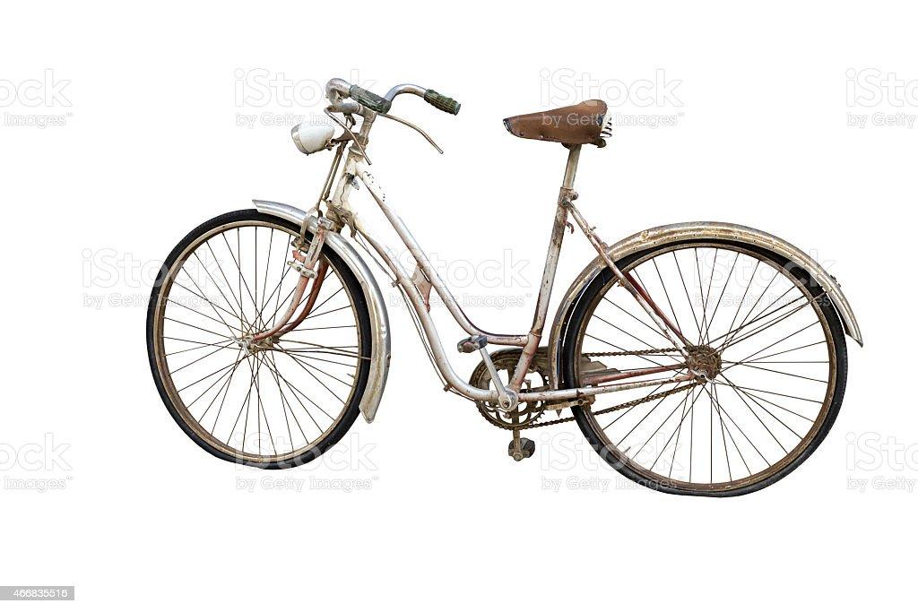 Vieja bicicleta Aislado en blanco - foto de stock