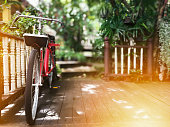 Old Bicycle on wooden floor. vintage house and nature background.