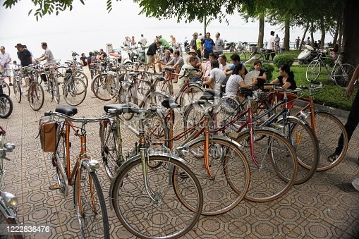 Hanoi, Vietnam -  September 20, 2015 : old bicycles at Tay lake, Hanoi