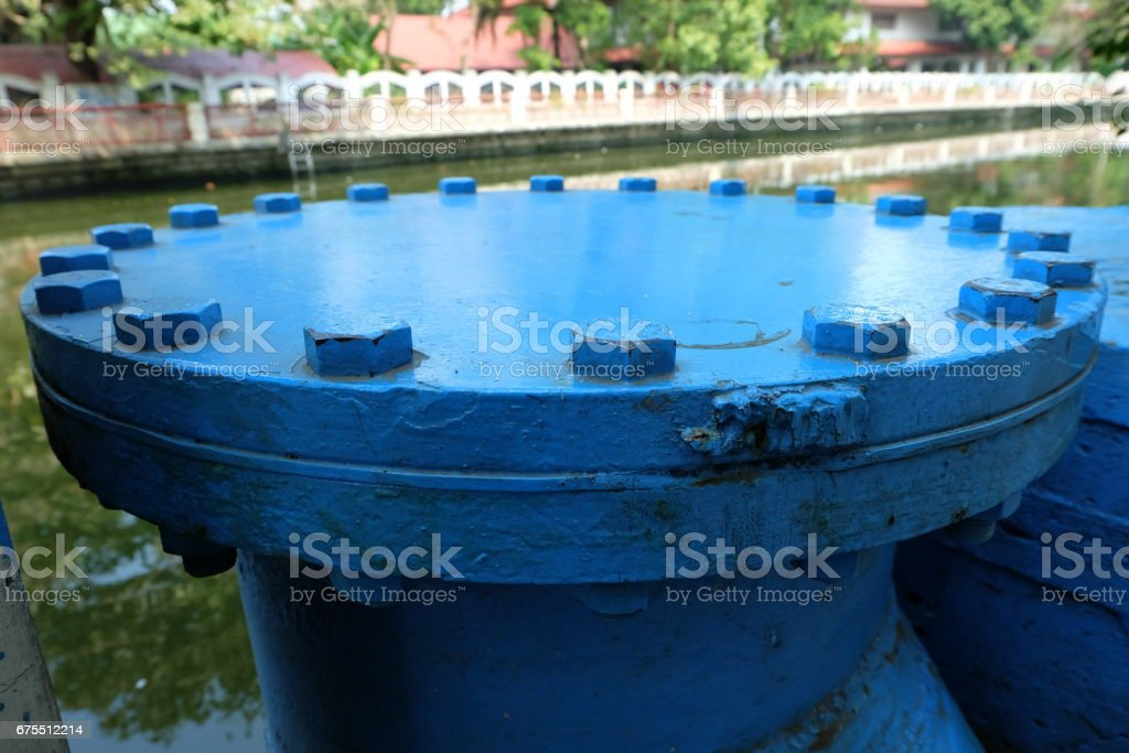 Old Big Blue Water Pipe. royalty-free stock photo