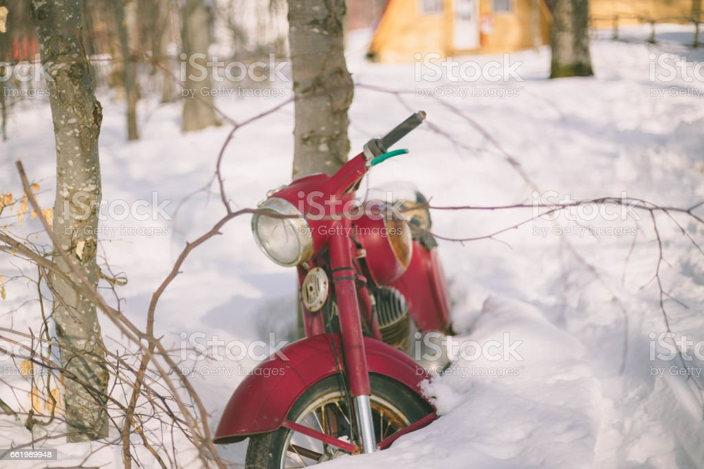 Old bike in the snow royalty-free stock photo