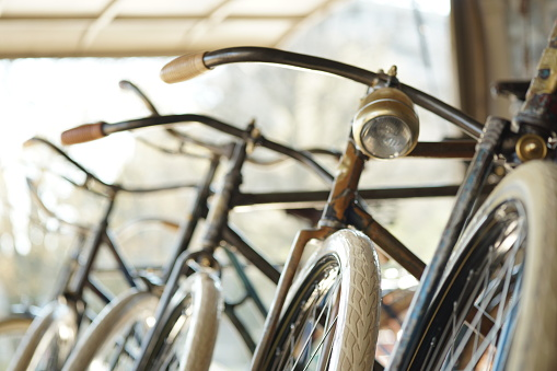 Old bikes in a row