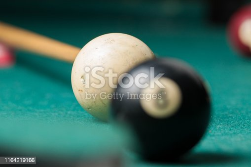 Old billiard ball 8 on a green table. billiard balls isolated on a green background