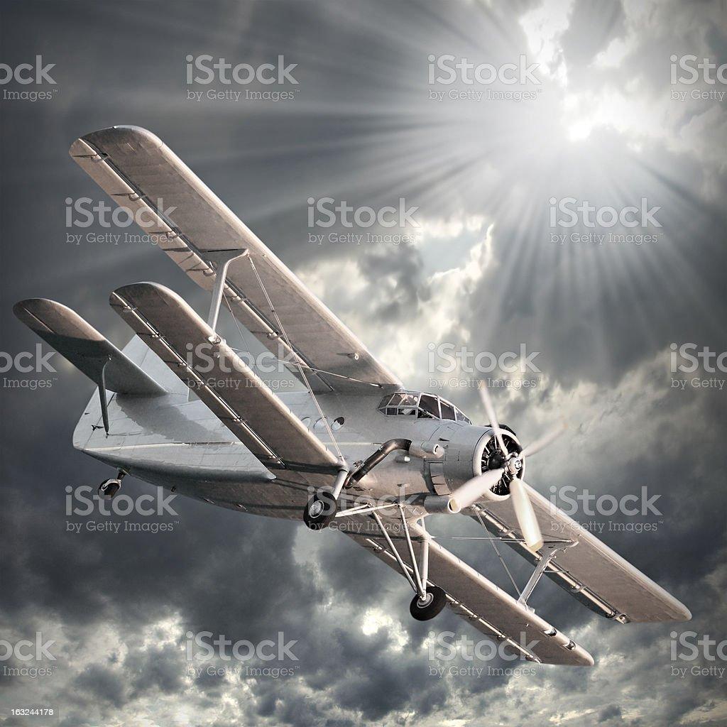 Old biplane. royalty-free stock photo