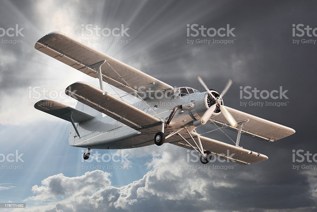 Old biplane. royalty-free stock photo