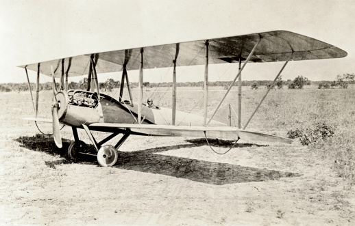 Vintage photo of an old bi-plane.