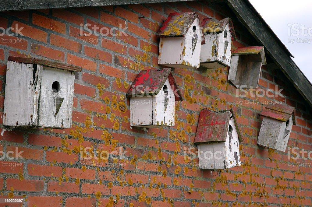 Old birdhouses royalty-free stock photo