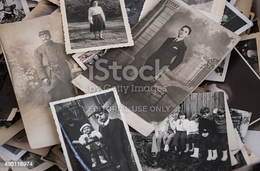 478384809 istock photo Old black and white and sepia photos at flea market. 495116974